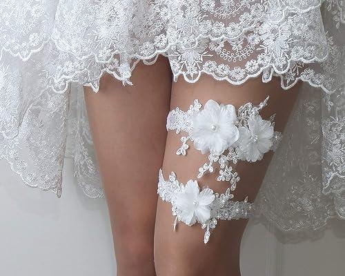 Bridal Garter White Garter Set with Pearl /& Metal Rhinestone SALE Wedding Garter Garter