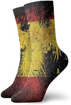 Bandera de España y águila Calcetines de compresión de tripulación clásica Tejido plano Casual Calentamiento atlético 30 cm Suave: Amazon.es: Ropa y accesorios