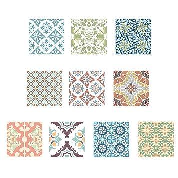 Foru-1 - Adhesivos de Pared para Azulejos Lavables, Estilo Retro: Amazon.es: Coche y moto