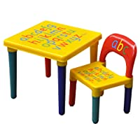 tinkertonk Kids Children Furniture Alphabet Learn Play ABC Table & Chair Set Educational Present OUT & INDOOR
