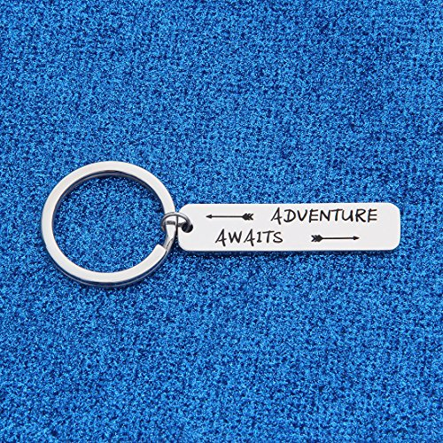 WUSUANED Adventure Awaits Arrow Keychain Inspirational Gift For Graduate Traveler Wanderlust (adventure awaits keychain) by WUSUANED (Image #1)