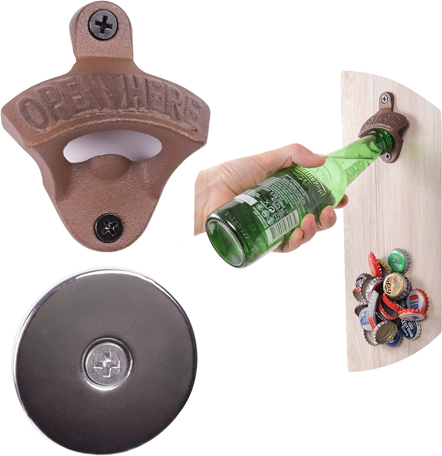 Amazon Com Best Bottle Opener Wall Mounted Rustic Vintage Cast Iron With Magnet Cap Catcher Housewarming Gifts For Men By Beerust Great As Beer Accessories Barware Kitchen And Man Cave