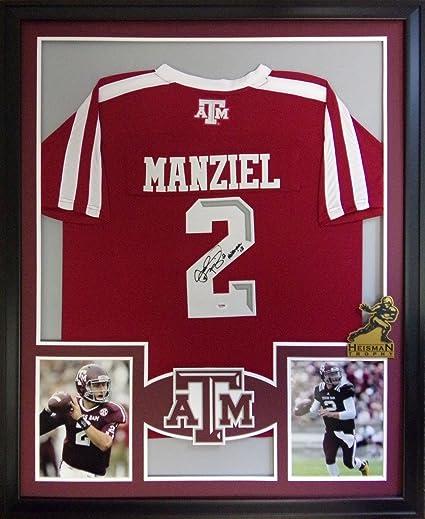Johnny Manziel Texas A M Aggies Autograph Signed Custom Framed Jersey  HEISMAN Inscribed PSA DNA Certified 53b1776bc