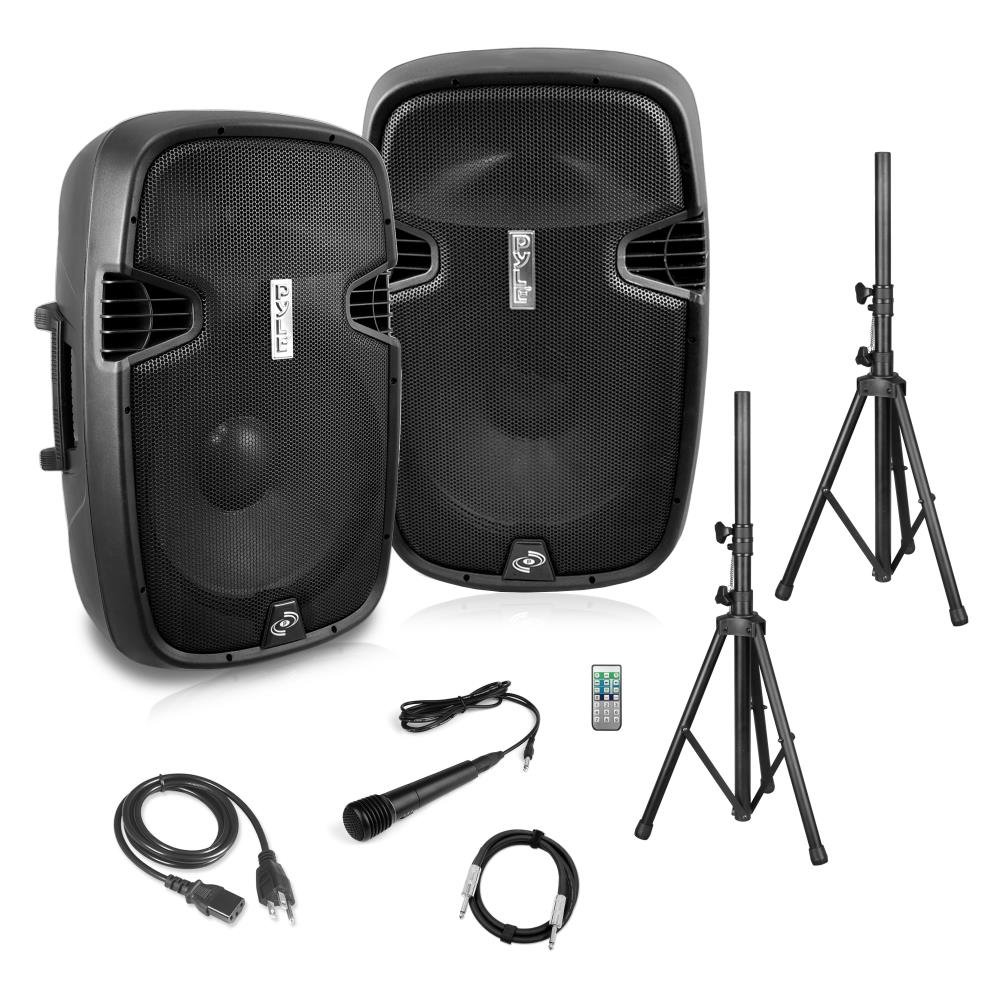 Powered PA Speaker System Active & Passive Bluetooth Loudspeakers Kit with 8 Inch Speakers, Wired Microphone, MP3/USB/SD/AUX Readers, Speaker Stands,Remote Control - Pyle PPHP849KT