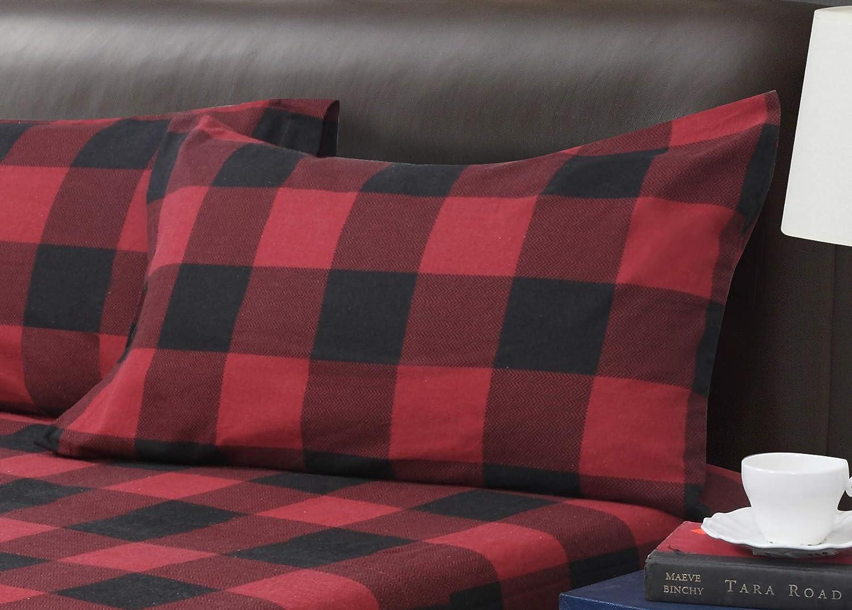 Buffalo Plaid 3-Piece Flannel Sheet Set Twin Red//Black 39x75