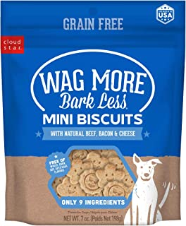 product image for Cloud Star Wag More Bark Less Grain Free Mini Biscuits, Bite Sized Crunchy Dog Treats, 7oz Bag