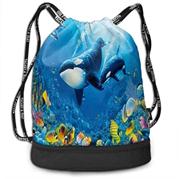 cf0757b0ffca Amazon.com: Drawstring Bag Whale Calf Sea Life Womens Gym Backpack ...