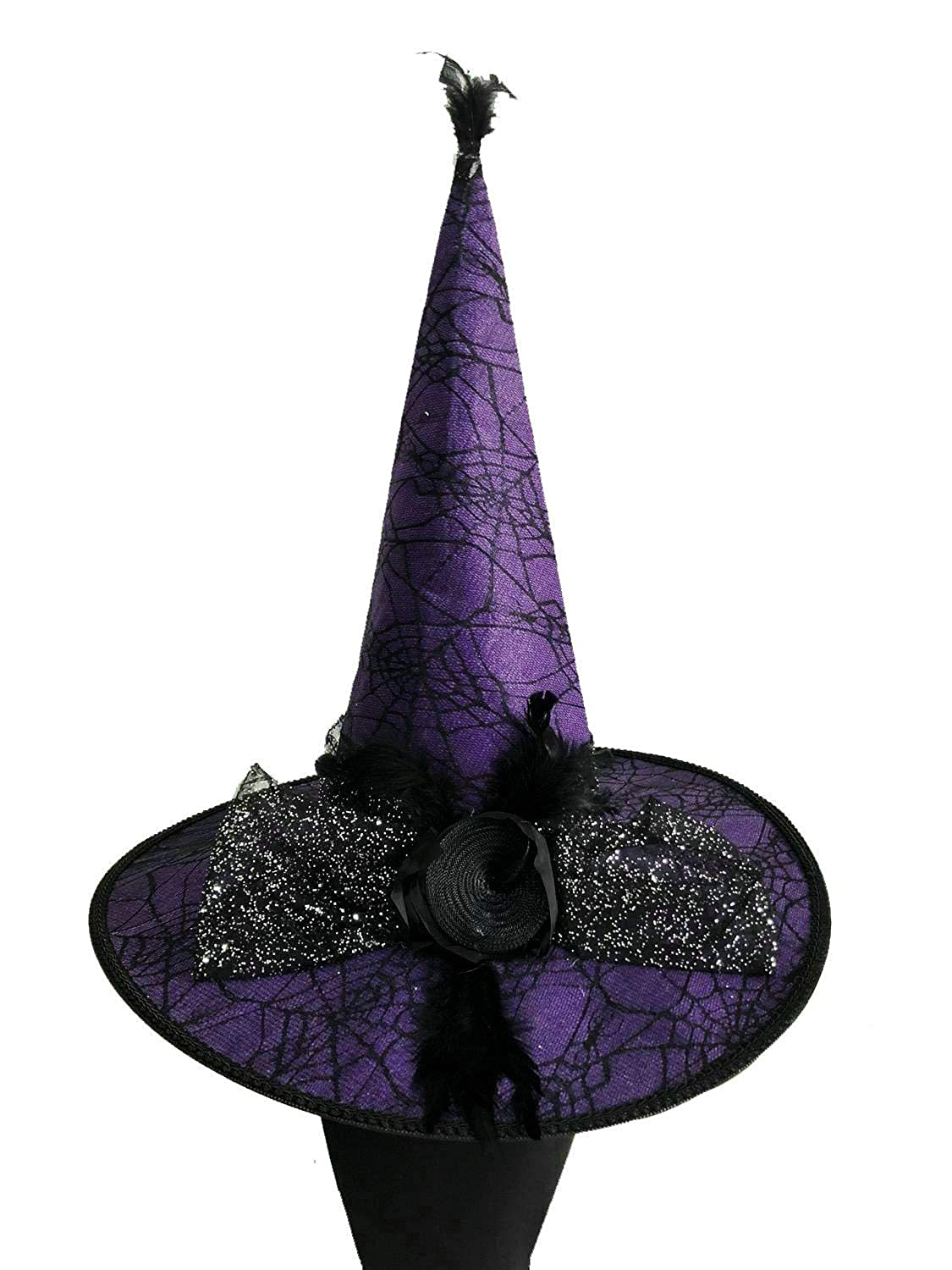 39a5df67d48 Amazon.com  Naray Halloween Costumes Women s Feather Deluxe Adult Witch Hat   Clothing