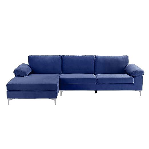 Sofá de ángulo amplio y moderno para 5 personas - Tejido de ...