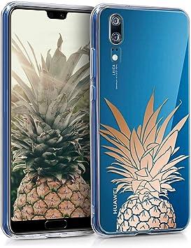 kwmobile Coque Compatible avec Huawei P20 - Housse Protectrice pour Téléphone en Silicone Buisson d'ananas Or Rose-Transparent