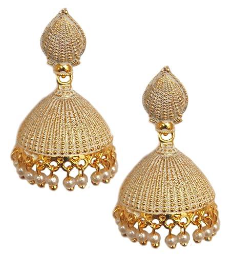 2e5c94fb6 Amazon.com: Pahal Ethnic Designer Pearl Big Gold Jhumka Earrings Jhumki  South Indian Wedding Jewelry Set (White): Jewelry