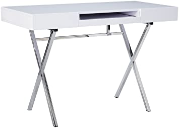 Kings Brand Furniture Contemporary Style Home Office Desk White Chrome