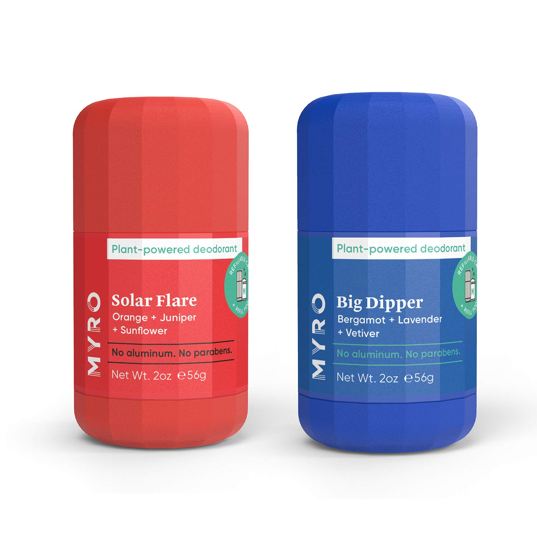 Amazon.com : Myro Deodorant | Plant-based, Aluminum Free, Baking Soda Free, Cruelty Free & Vegan – 2 pack, Big Dipper & Solar Flare : Beauty