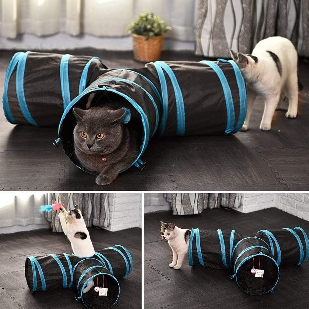 bolsa de almacenamiento de t/únel para mascotas y juguetes para gatos cobayas conejos plegable de 4 v/ías uso en interiores y exteriores JIN CAN Juguete de t/únel para gato perros varita de plumas