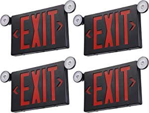 TORCHSTAR Black LED Exit Sign with Emergency Lights, Damp Location, Two Adjustable Head, Double Face, Battery Backup, UL 924, AC 120/277V, Hardwired Exit Light Combo for Business, Pack of 4