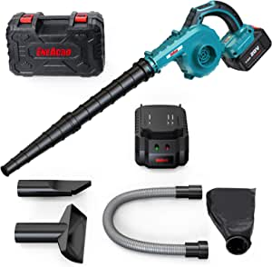 5 Variable Speed Lightweight Cordless Leaf Blower,ENEACRO 20V 4.0AH 150MPH 2 in 1 for Sweeper & Vacuum Leaf/Snow/Dust,Lithium Battery-Powered with Battery, Fast Charger & Carry Case.