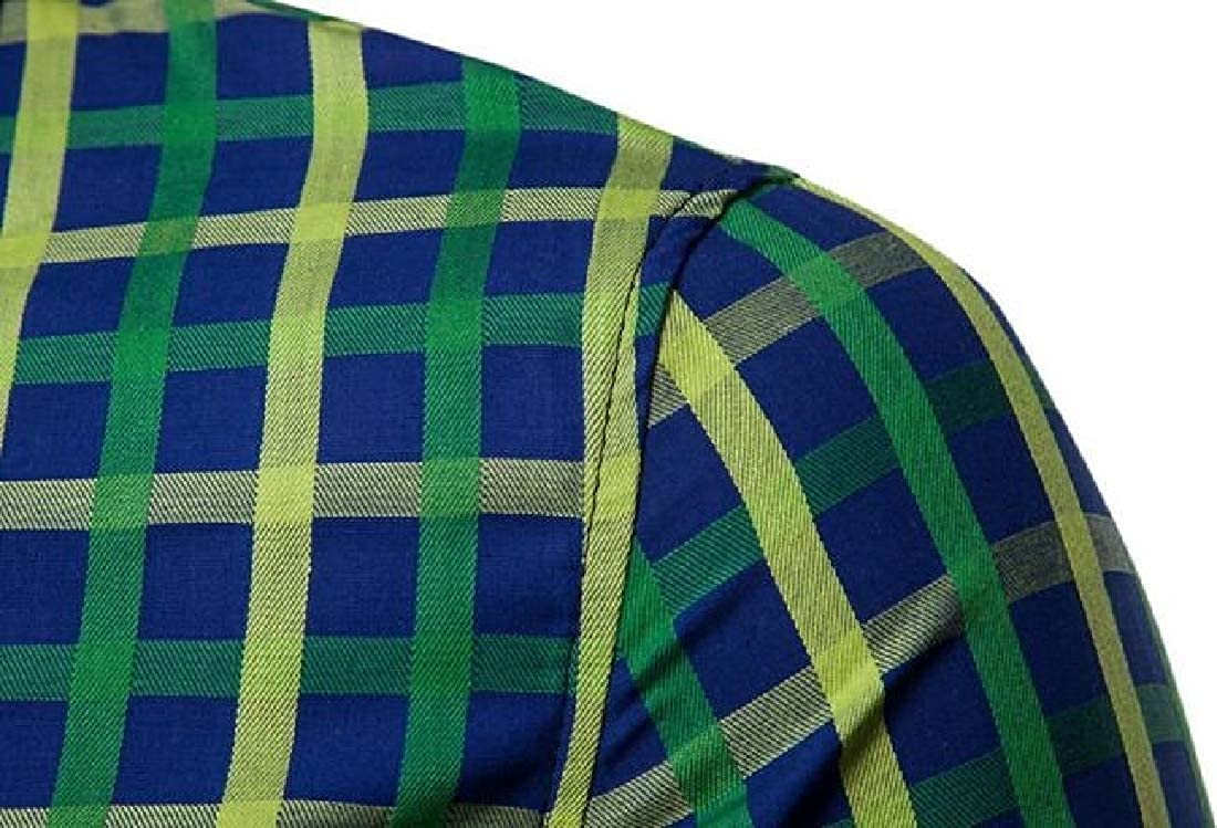 Fubotevic Mens Plaid Business Button Up Casual Long Sleeve Dress Shirts