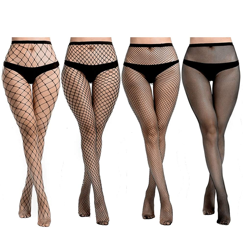 1bd87f224 Amazon.com  Lady Up Women s Fishnet Hosiery Black Tights Sexy Stockings  High Waist Patterned Mesh Net for Party Industrial (4 Pairs)  Clothing