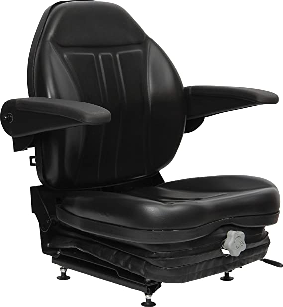 Black Talon Highback Suspension Seat with Folding Armrests - Black