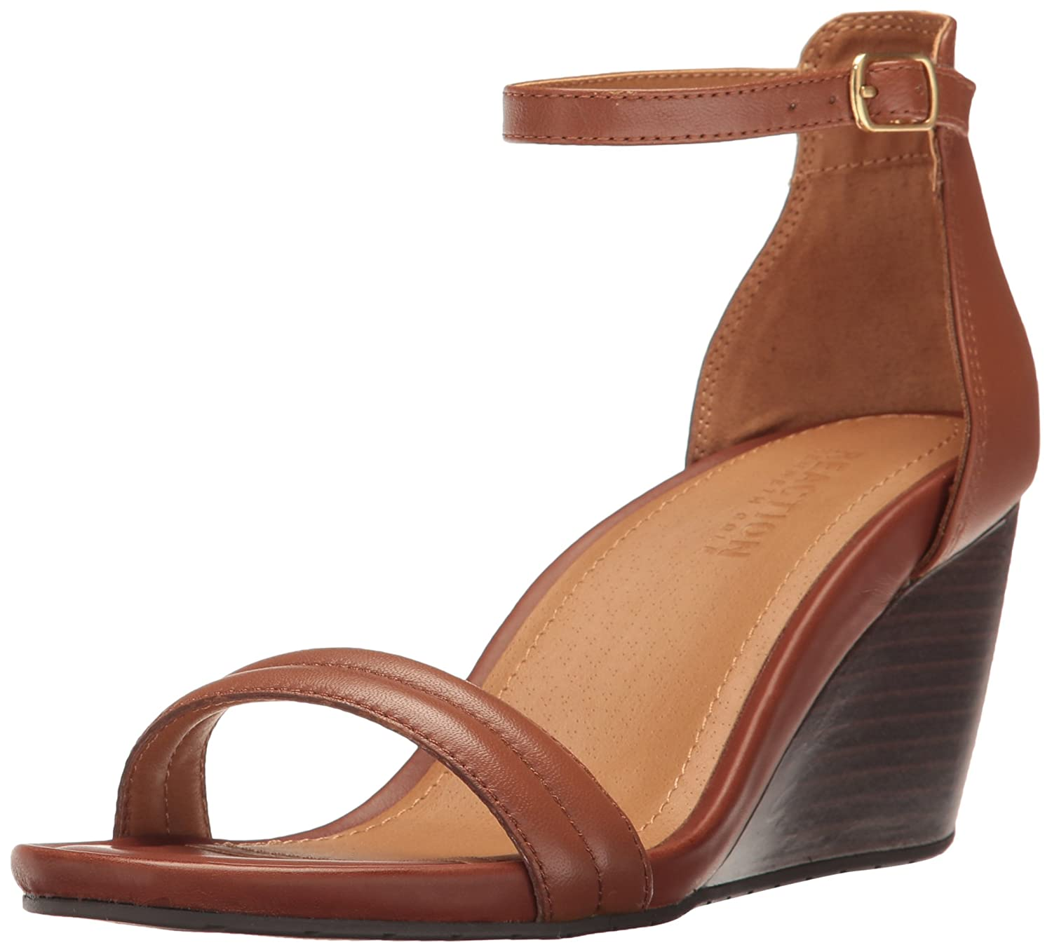 Kenneth Cole REACTION Women's Cake Icing Open Toe Padded Straps Wedge Sandal B06WGRVG7N 8.5 B(M) US|Cognac