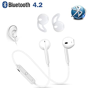 Auriculares Inalámbricos Bluetooth 4.2, in-Ear Cascos Deportivos con Microfono para Móviles Samsung iPhone Mi LG HTC, Manos Libres Wireless Deporte ...