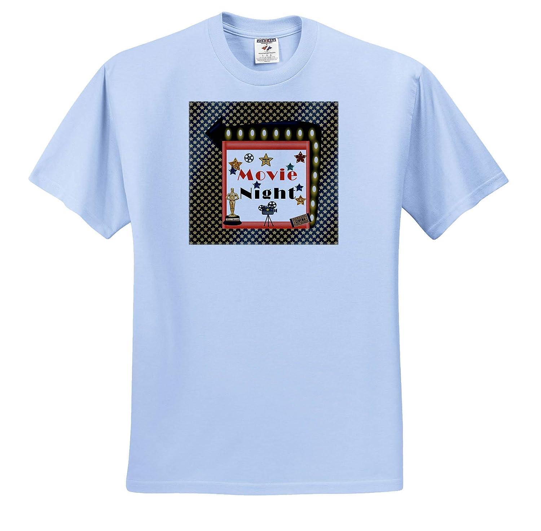 Action Lights and Stars T-Shirts 3dRose Beverly Turner Movie Night Design Awards Movie Night Camera Ticket Film