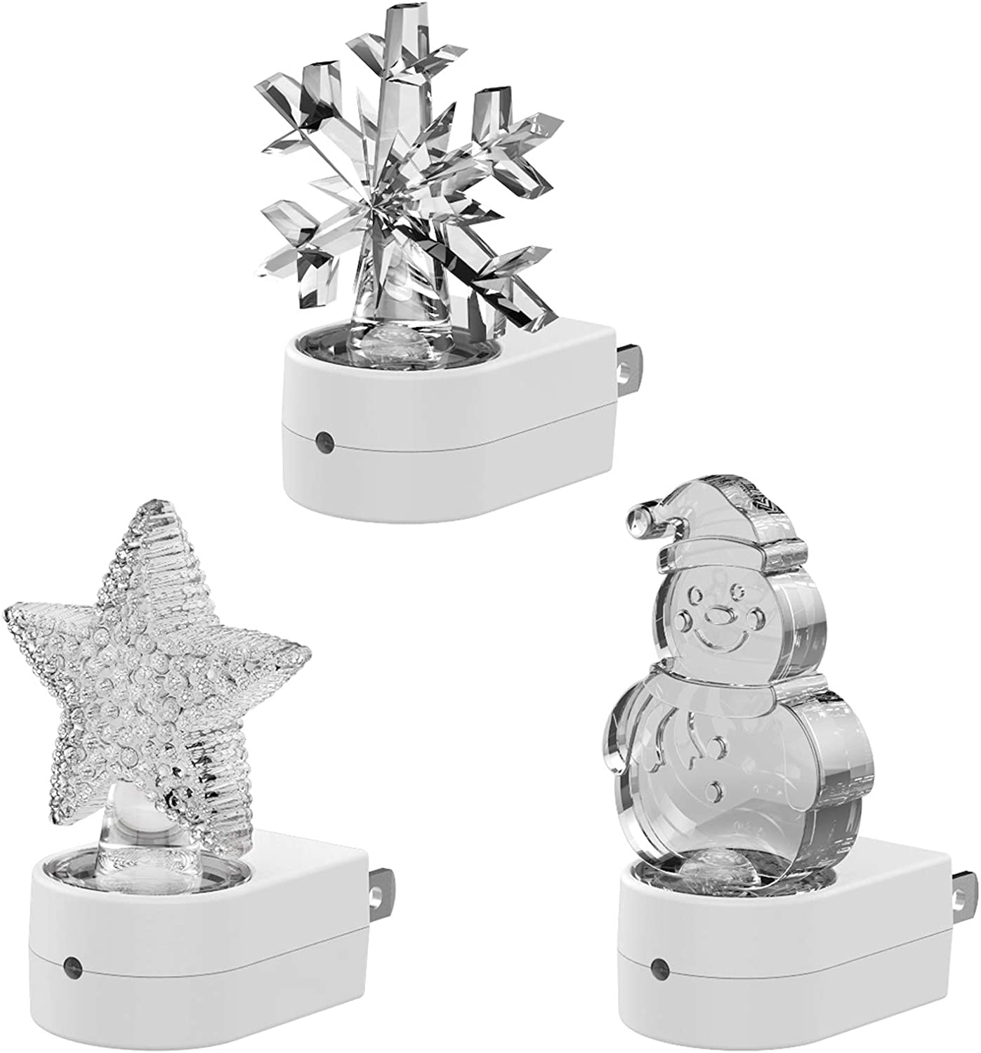 Night Lights Plug-into-Wall for Kids Christmas – Cute LED Lamp Plug-in with Light Sensor & Manual Switch, Decoration & Gift, for Nursery, Bathroom A Snowman, A Twinkle Star, A Snowflake