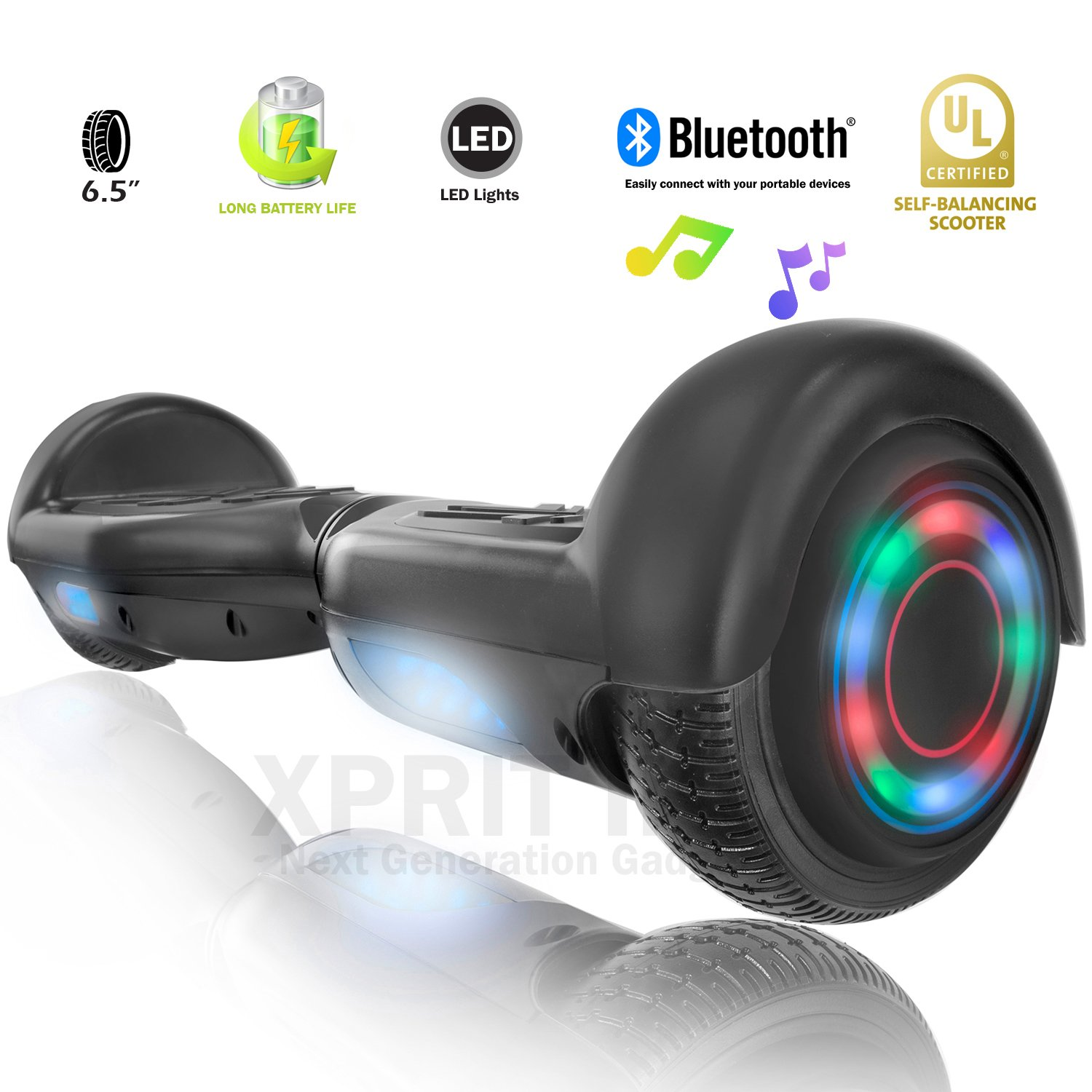 XPRIT Hoverboard w/Bluetooth Speaker (Black) by XPRIT (Image #1)
