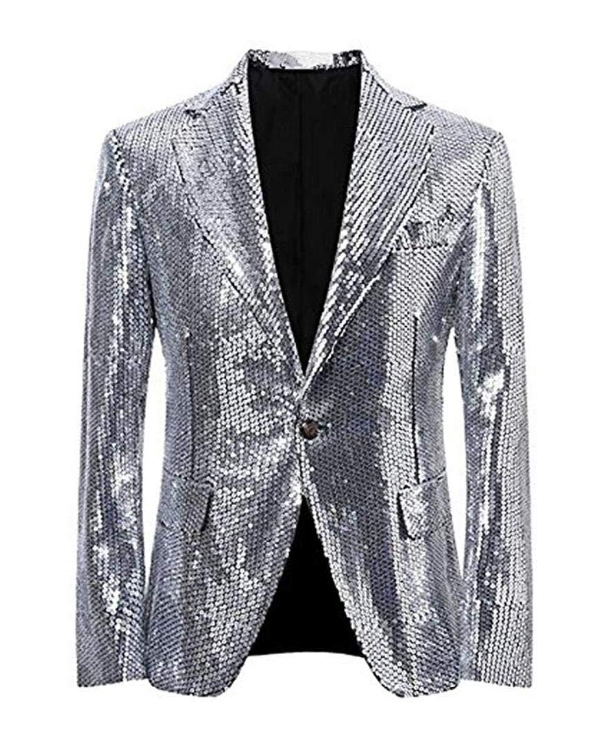 Men's Silver Sequined Nightclub Tuxedo One Button Blazer Jacket Wedding Coat Silver 38 Chest / 32 Waist