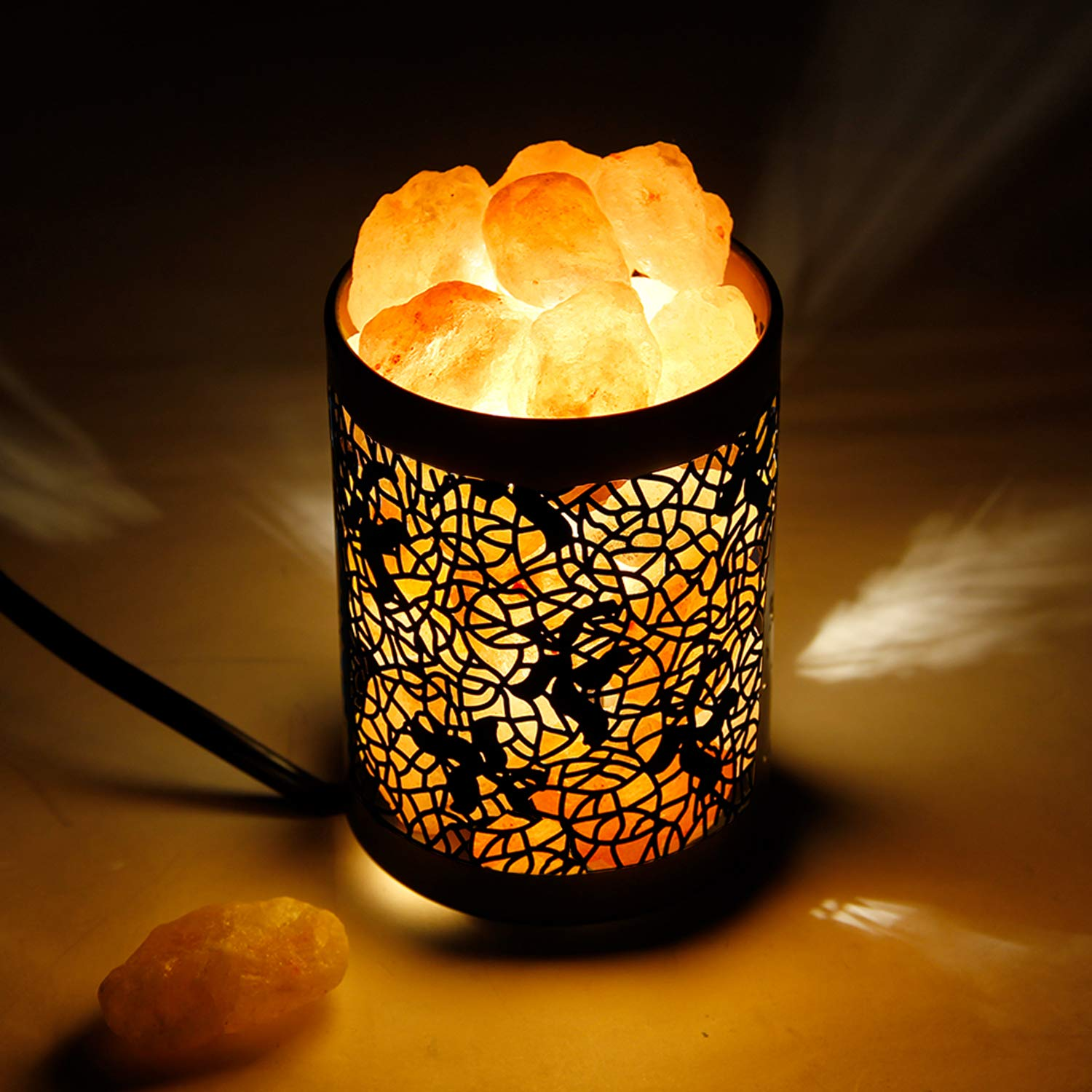 Himilian Pink Salt Lamps, OxyLED Himalayan Sea Salt Lamp, Natural Himalayan Salt Night Lights, Salt Crystal Light with Modern Design Metal Basket Lampshade (Two E14 Salt Light Bulbs Included) D03-1686A-04