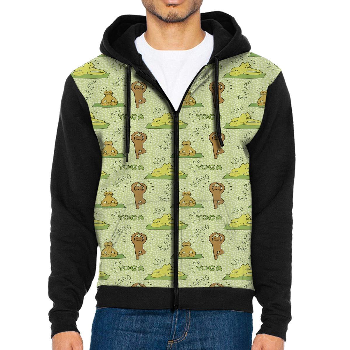 Mens Funny Cats Yoga Meditation Full-Zip Hooded Sweatshirt with Pocket