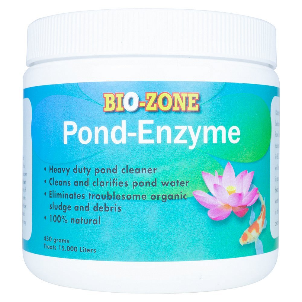Bio-Zone Pond Enzyme Treatment - Ecofriendly Water Cleaner with Natural Reduces Bacteria, Fish Waste, Cloudiness -450 Grams Treats 15,000 Liters by Bio-Zone