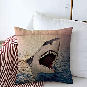 """Throw Pillow Covers Great Attack White Shark Generated Nature Dangerous Fin Fish Horizon Large Design Saltwater Cushion Case Linen Square Pillowcase for Home Decor 16"""" x 16"""""""