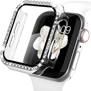 Recoppa Apple Watch Case with Screen Protector for Apple Watch 38mm Series 3/2/1, Bling Crystal Diamond Rhinestone Ultra-Thin Bumper Full Cover Protective Case for Women Girls iWatch Clear