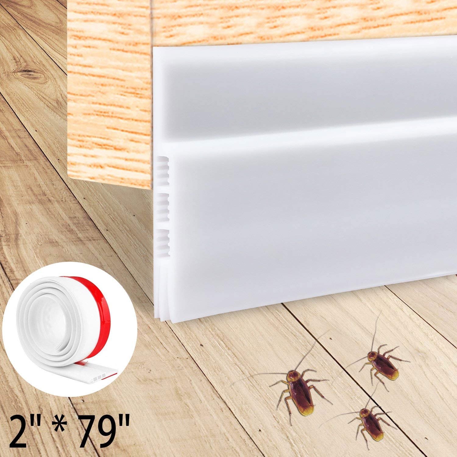 Originalidad Energy Efficient Door Under Seal | Energy Saving Draft Seal | Door Draft Stopper | Door Noise Stopper | Weather Stripping Door Bottom Seal Strip (White: 2'' W X 79'' L)