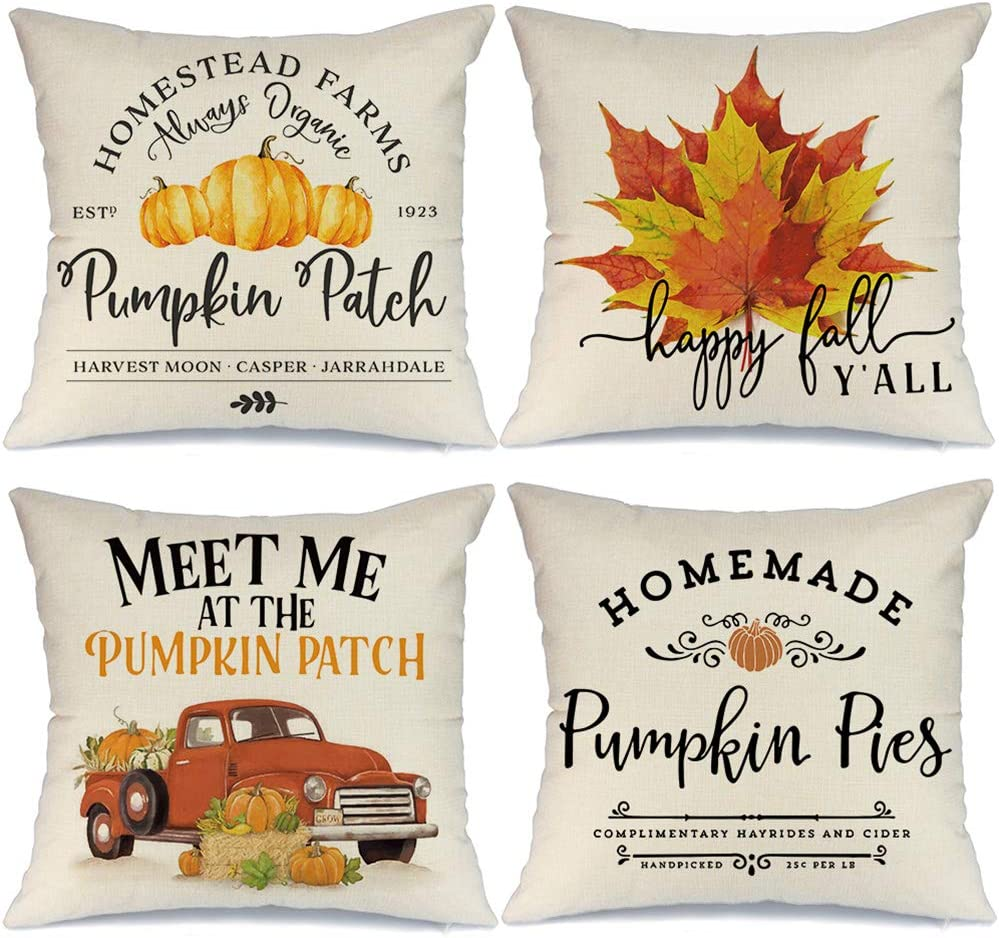 AENEY Fall Pillow Covers 16x16 Set of 4 for Fall Decor Farmhouse Thanksgiving Buffalo Check Plaid Gnomes Pumpkin Outdoor Fall Pillows Decorative Throw Pillows Autumn Cushion Cases for Couch 1015bz16