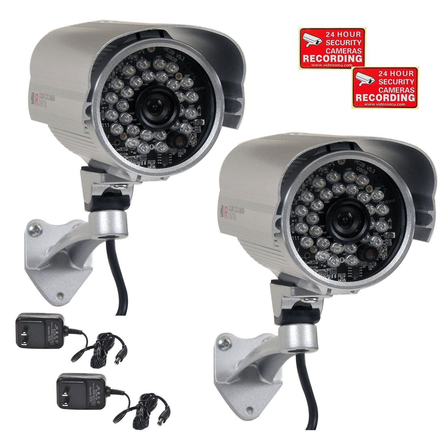 VideoSecu 2 Pack Bullet 700TVL Outdoor Security Cameras 1/3'' SONY Effio CCD Built-in IR Infrared Day Night Vision 3.6mm Lens Wide Angle for DVR CCTV Home Surveillance System with Power Supplies AC4