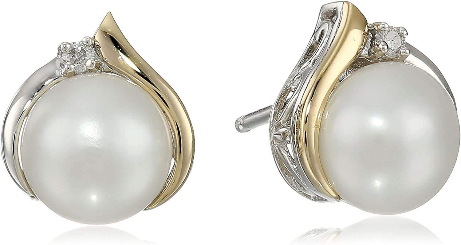Marked Solid Sterling Silver 11-12mm Genuine Akoya Pearl Earrings Gift Boxed