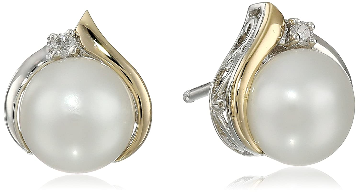 c387f0a4a Amazon.com: Sterling Silver and 14k Yellow Gold Diamond Accent Freshwater  Cultured Pearl Stud Earrings (7mm): Jewelry
