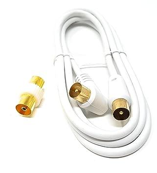 MainCore - Cable coaxial largo de ángulo derecho para antena de TV/AV con acoplador 2 m blanco