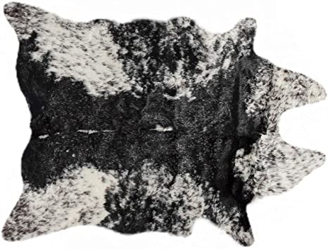 Amazon Com Luxe Faux Fur Cowhides Soft Low Pile Durable Fade Resistant Shed Free Animal Free Faux Cowhide Area Rug 5 1 4 Ft X 7 1 2 Ft Cow Print Salt Pepper Black White Home Kitchen