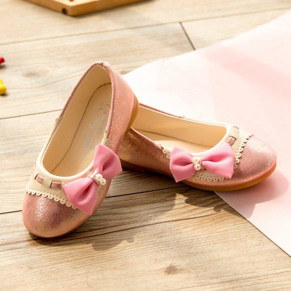 Toddler//Little Girl CYBLING Adorable Mary Jane Side Bow Metallic Slip On Ballerina Flat