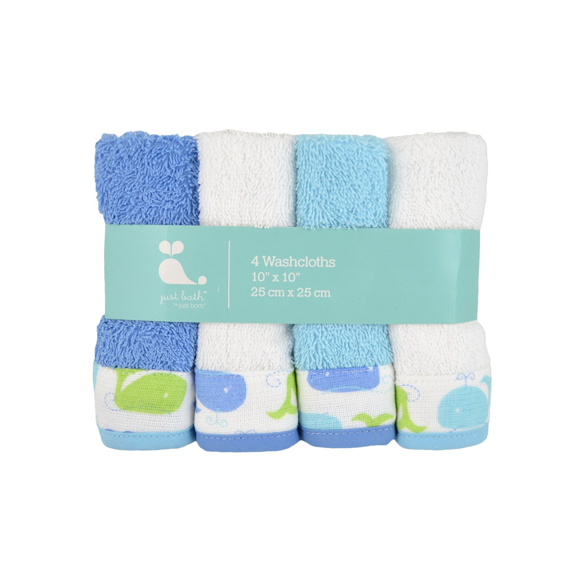 Just Born Just Bath Sea Brights 4-Pack Woven Washcloth Set, Blue Whales by Just Born (Image #2)