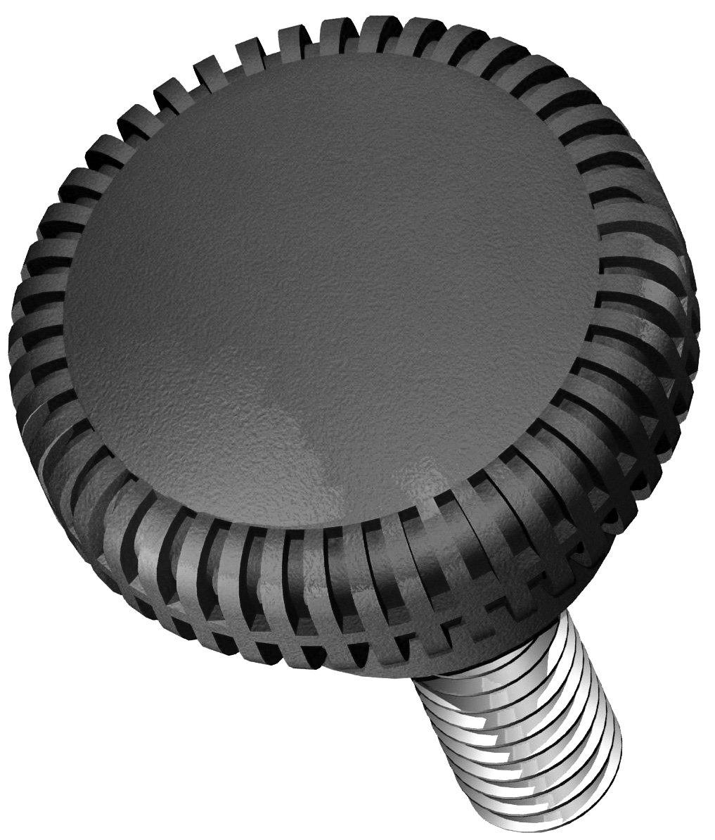 Innovative Components AN4C0625K4A21 1.00'' Knurled knob 1/4-20 X 5/8 steel zinc stud black ABS (Pack of 10)