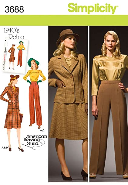 220e2c09341680 Amazon.com: Simplicity 3688 1940's Blouse, Skirt, Pants and Jacket Sewing  Pattern for Women by American Sewing Guild Sizes 20W-28W: Arts, Crafts &  Sewing