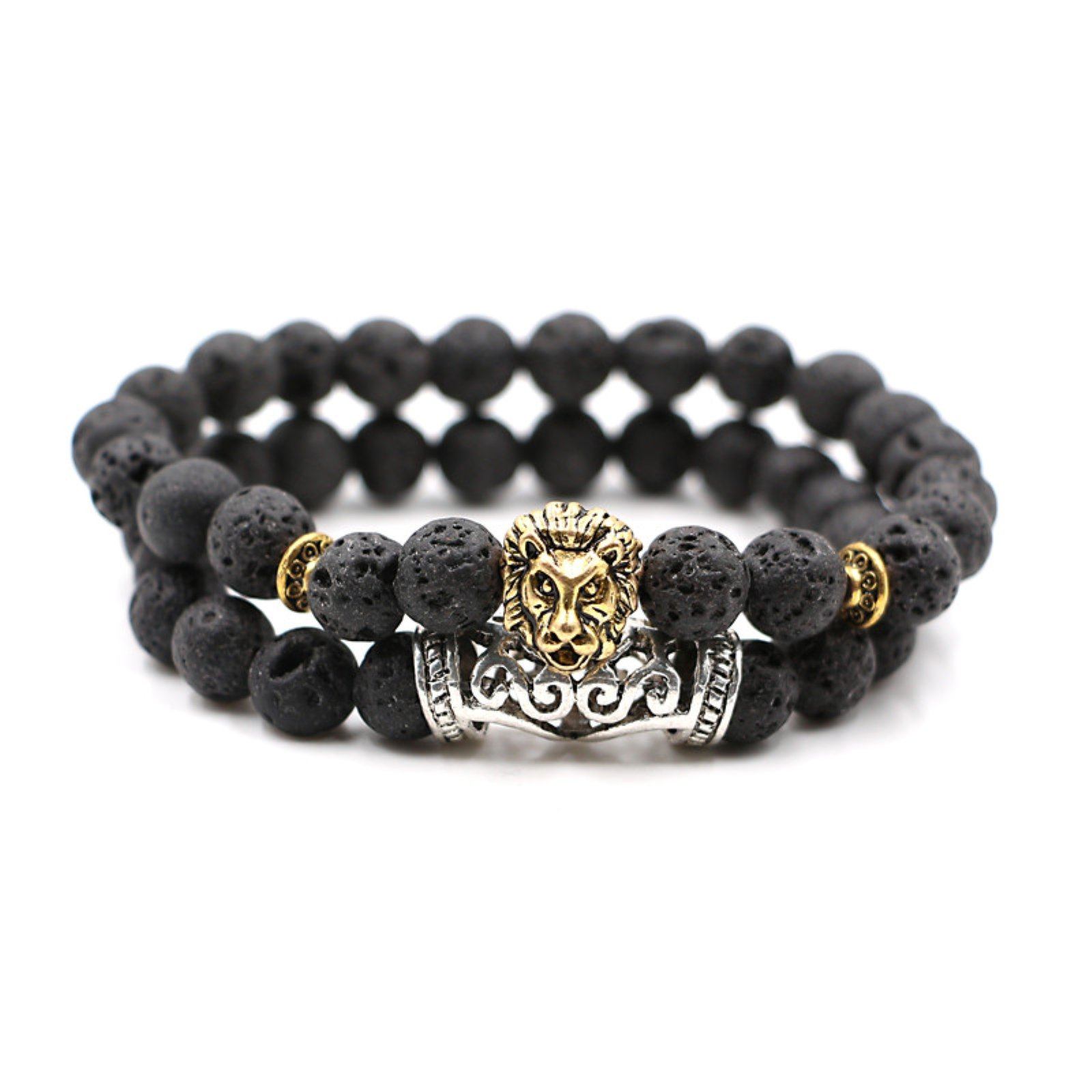 HYHONEY Hot Natural Lava Tiger Eye Stone Beads Bracelet For Men Antique Gold Lion Head Bracelet