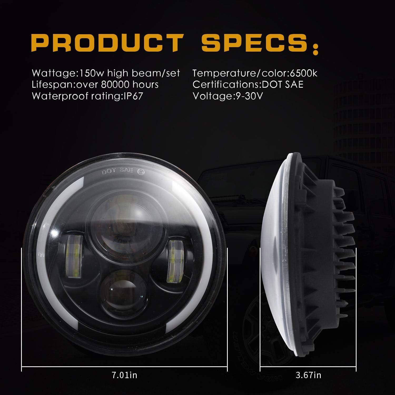 Yiwa 7 Pouces Ronde phares LED 1 Paire 200W 4300K//6000K LED Phare pour Jeep Wrangler CJ JK TJ LJ 6000K White Light