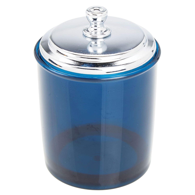 mDesign Rangement Maquillage en Plastique et m/étal Bocal avec Couvercle pour Cotons et /élastiques Pot en Plastique Polyvalent pour la Coiffeuse Bleu Marine et argent/é