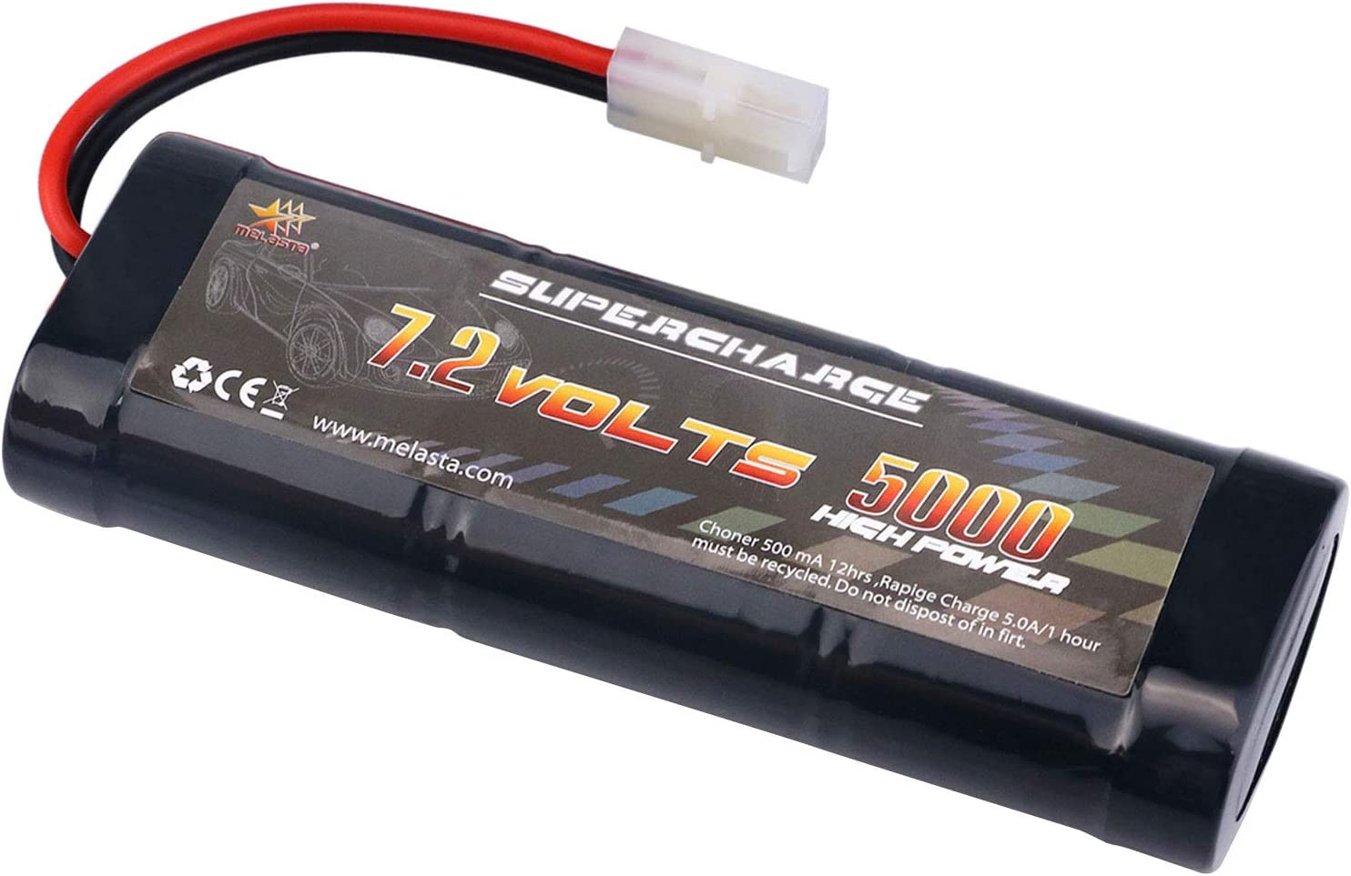 melasta 7.2 Volt 5000mAh Flat Ni-MH High Power Battery Packs with Tamiya Discharge Connector for RC Racing Cars, RC Truck, RC Tank, RC Boat Aircraft,RC Airplane, RC Helicopter