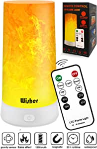 Bedside Table Lamp with Remote Control, Led Light Bulb Flame Simulation Projector, USB Charging & Wireless, Bedroom & Baby Room Night Light for Kids and Adults